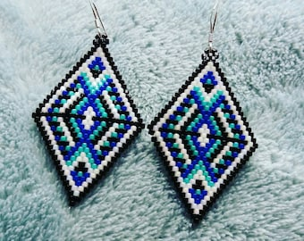 Miyuki with Sterling silver earrings in shades of blue.
