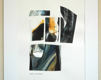 """Fractured Space: Original 8"""" x 10"""" painting on paper matted and framed to 12"""" x 15"""""""