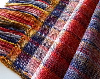 Handwoven wool scarf, red yellow scarf, womans woven scarf, handwoven wrap, stripped scarf, womens wrap, winter scarf
