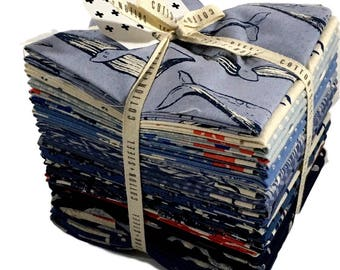 "Cotton + Steel fabric - ""SS Bluebird""-Fat Quarter Bundle,  20 different fat quarters, modern fabric, nautical fabric, whale fabric."