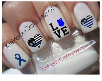 Police Blue Line waterslide nail decal set custom nail art 24 manicure pedicure Police Support Police Wife Policewoman water slide decal