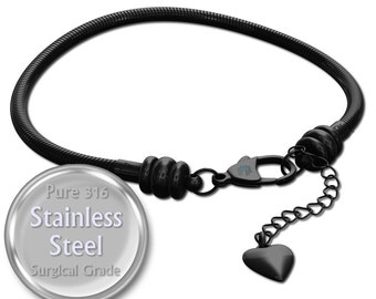 Timeline Treasures Charm Bracelet For Women, Black Stainless Steel Snake Chain, Fits European Charms, Lobster Claw Clasp