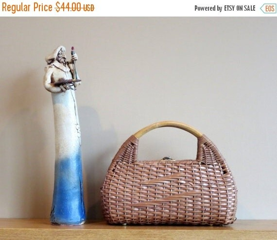 Football Days Sale Vintage Handmade Dome Shaped Wicker Basket Bag Lunch Tote Picnic Basket With Bamboo Handles- VGC
