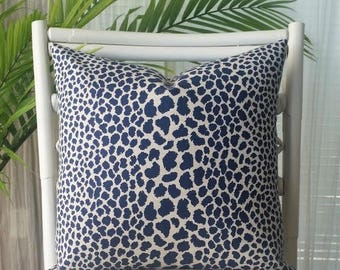Indigo Leopard Cheetah Animal Print Pillow Cover - blue, indigo, navy, cream, ivory