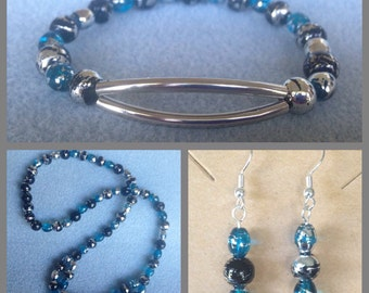 Jewelry Set, Black,  Blue and Silver Jewelry Set, necklace, bracelet, earrings