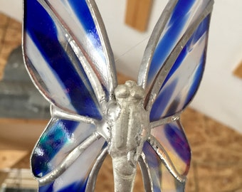 Stained glass butterfly, blue glass butterfly, sun catcher, unique glass