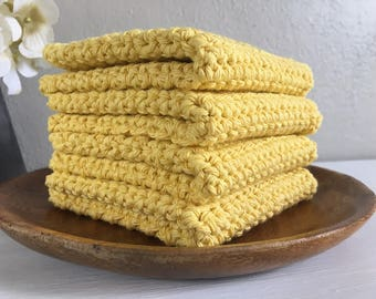 Yellow Crocheted Washcloths . Set of Four Washcloths . Cotton Wash Cloths . Bath Linens . Farmhouse Decor . Housewarming Gift . Spa Gift Set