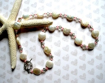 PEARL JADE NECKLACE, Handcrafted Delicate Pearl Necklace, Pearls Faceted Jade Crystals, Tibetan Silver Clasp