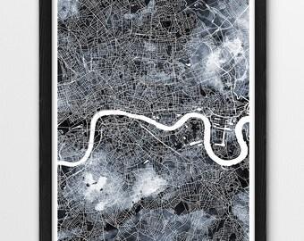 London Urban Map Print, London City Street Map Poster, London England Watercolor Grey Black White, London UK Map, Modern Wall Art, Printable