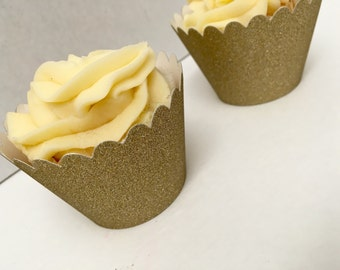 Gold Glitter Cupcake liners. 12 liners. Gold Cupcake.  Gold party decor. Cupcake wrappers.