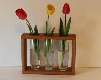 Solid Butternut Wood vase Box    Three bud vases included