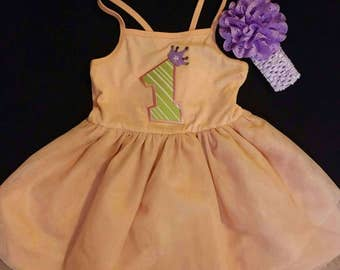 1st Birthday Dress size 18mos- free headband-pink first birthday-Summer 1st birthday dress