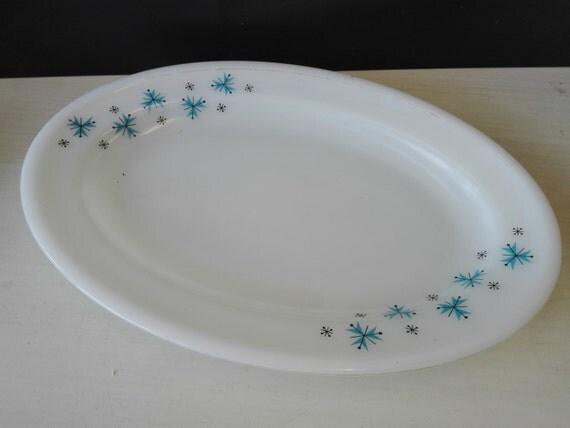 Phoenix serving plate, Blue flowers