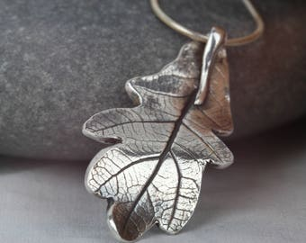 Fine silver Oak leaf pendant ~ real oak leaf jewellery ~ silver statement jewellery ~ silver leaf necklace ~ unique silver pendant ~ gift