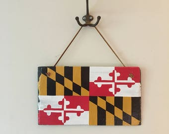 Vintage Repurposed Handpainted Rustic Slate Shingle Maryland Flag Sign