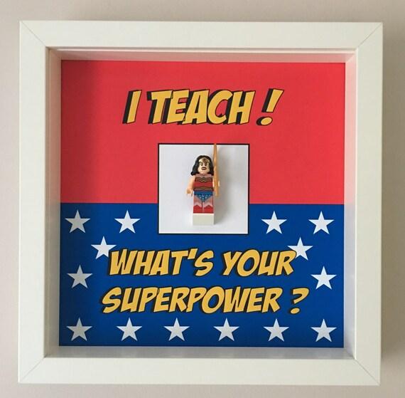 I Teach ! Teacher Minifigure Frame, Mum, Gift, Geek, Box Frame, Friends, School, Idea, Birthday, Superhero, Hero, For Her, For Him,