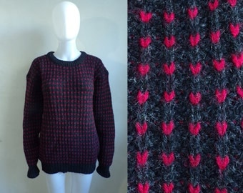 35%offJuly21-24 80s wool speckled sweater size medium, charcoal gray red chunky knit wool sweater, 1980s womens sweater, womens jumper