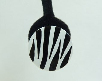 80s zebra earrings, wood animl print circle earrings, 1980s black white striped jungle safari clip on vintage earrings, costume jewelry