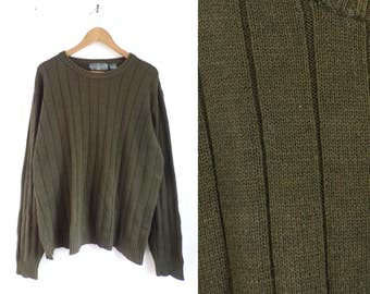 40%offAug15-17 osar de la renta mens sweater, 90s oilve green knit sweater, minimalist 1990s acrylic & cotton ribbed sweater, mens jumpe