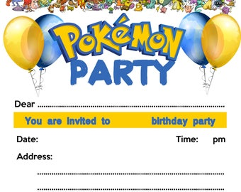 Pokemon Party Invite
