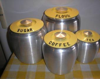 Yellow Kromex Spun Aluminum 4 pc. CANISTER SET