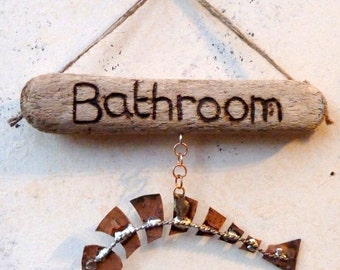 Abstract Copper Fish Bathroom Sign Wall Hanging Driftwood Plaque. Hand Made