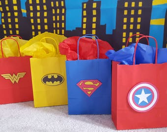 Superhero themed party bags