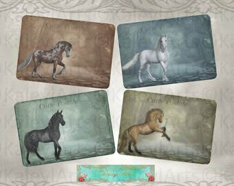 magic Horses ....cards, fantasy, vintage, Epherma, photo print, shabby chic, instant download, scrapbook, Einladung, photo print, postcard