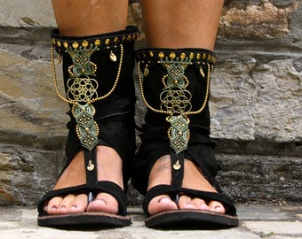 Ethnic shoes black and brown, Macramè sandals, Ethnic sandals, Leather sandals