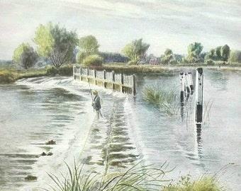 Chertsey Weir fishing English antique print river landscape mounted colour book art Ogilvy C1914