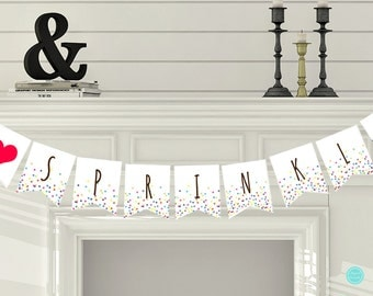 Sprinkled with Love Banner, Confetti Baby Shower Decorations, Baby Sprinkle Banner, Baby Shower Decorations TLC108 ds