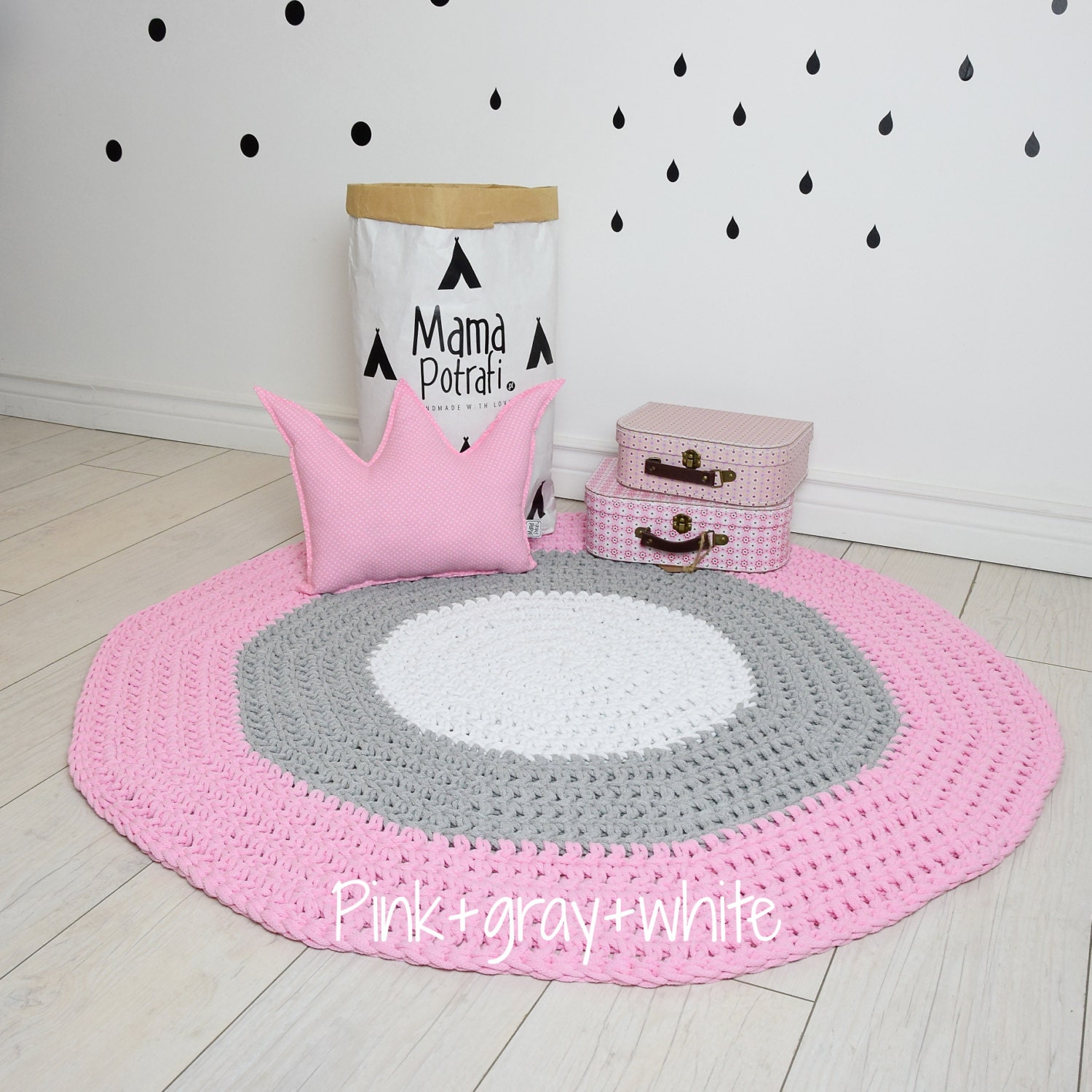 Crochet round rug children crochet rug cotton yarn rug mat for Round rugs for kids