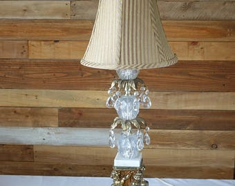 Vintage angels lamp - Clear glass table lamp- Brass accent Marble- Bedside lamp-Romantic french boudoir angels-Clear glass teardrop crystals