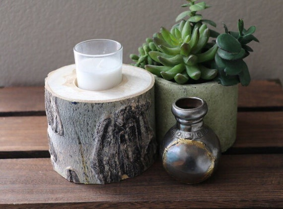 4 aspen wood candle holder rustic decor natural wood for Aspen logs for decoration