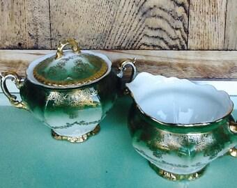 Royal Austria cream and sugar set, green