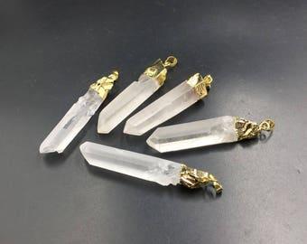 Wholesale Raw Quartz Point Pendant Rock Crystal Quartz Pendant Gold Plated Gemstone Pendants Point Pendant Charm 5pieces/set