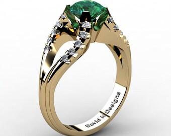 Modern Italian 14K Yellow Gold 1.0 Ct Emerald Diamond Ring R1098-14KYGDEM