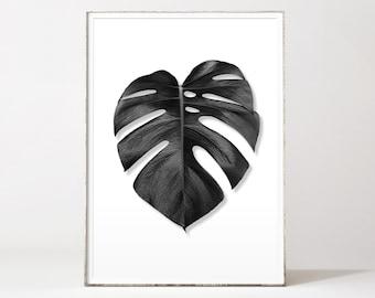 Monstera leaf print, palm leaf print, monstera deliciosa print,black leaf print, botanical print black white, affiche tropical, tropical art