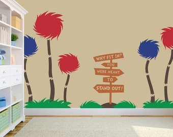 Storybook Cottonball Trees - Dr. Seuss Inspired Vinyl Wall Decal - Decor - Solid Large