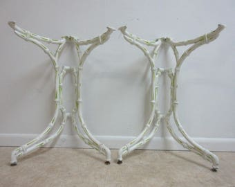 Pair of Vintage Faux Bamboo Cast Aluminum Dining Room Table Base