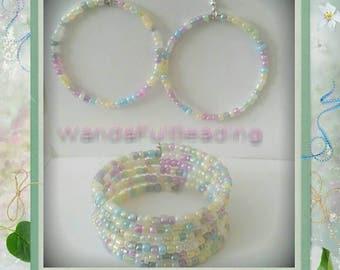 Pastel Color Memory Wire Bracelet & Hoop Earrings Set
