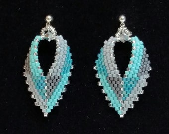 Russian Leaf earrings, in teal and gray. Brick stitch.