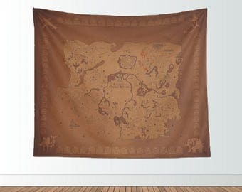 Zelda Breath of the Wild Tapestry: Legend of Zelda Hyrule inspired map wall hanging or blanket