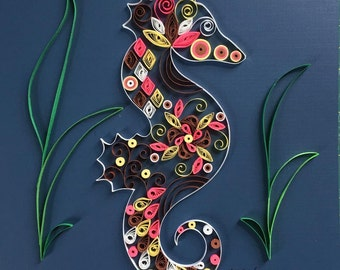 Handmade Quilled Paper Endangered Species Seahorse Art 8x8