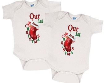 "Twin Onesies - Set of 2 ""Our 1st Christmas"" Twin Outfits, Twin Christmas Outfits, Twin Christmas Clothes, Twin Christmas Clothing"