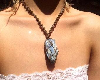 Kyanite Crystal Macrame Necklace