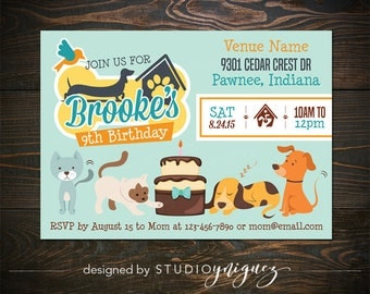 "Puppies and Kitties Birthday Printable 7"" x 5"" Invitation,  Cats and Dogs Printable Birthday Invitation, Pet Rescue Birthday Invitation"