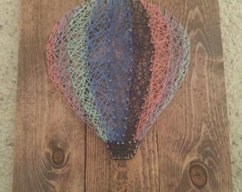 Rainbow Hot Air Balloon String Art