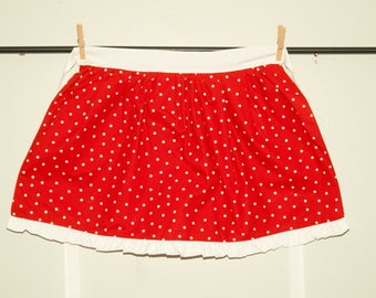 Children's red polka dot and heart Apron
