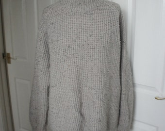 Vintage Chunky Grey Speckled Hand Knitted Fisherman's Jumper Pullover Sweater Size XL 48/50
